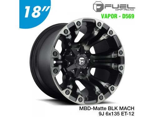 "FUEL FULL BLOWN - D569 鋁圈 18"" 9J 6x135 ET-12 Gloss Black & Milled"