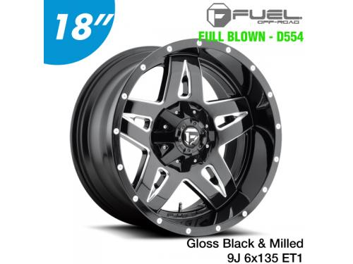 "FUEL FULL BLOWN - D554 鋁圈 18"" 9J 6x135 ET1 Gloss Black & Milled"