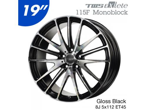 "TWS EXlete 115F 19"" 8J 5x112 ET45 鋁圈 Gloss Black Cut Finish"