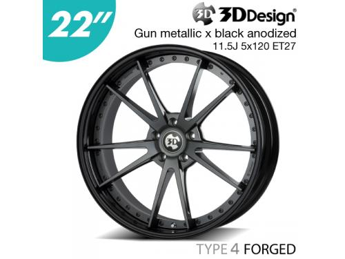 "3DDesign TYPE 4 FORGED 鋁圈 22"" 11.5J 5x120 ET27 黑色黑框"